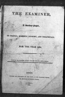 <i>The Examiner</i> (1808–1886) 19th century weekly newspaper