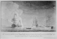 The Phoenix and the Rose engaged by the enemy's fire ships and galleys on 16 August 1776. Engraving by Dominic Serres after a sketch by Sir James Wallace