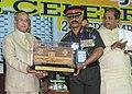 The President, Shri Pranab Mukherjee being felicitated at the Golden Jubilee Celebrations of Sainik School, Bijapur, at Karnataka on September 24, 2013. The Chief Minister of Karnataka, Shri Siddaramaiah is also seen.jpg