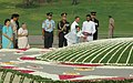 The President, Smt. Pratibha Devisingh Patil paying floral tributes at the Samadhi of late Prime Minister, Pandit Jawaharlal Nehru on his 45th Death Anniversary, at Shanti Van, in Delhi on May 27, 2009.jpg