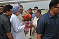 The Prime Minister, Dr. Manmohan Singh being received by the Governor of Rajasthan, Smt. Margaret Alva on his arrival, at Rajasthan on September 21, 2013.jpg