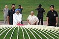 The Prime Minister, Dr. Manmohan Singh paying floral tributes at the Samadhi of late Prime Minister, Pandit Jawaharlal Nehru on his 46th Death Anniversary, at Shanti Van, in Delhi on May 27, 2010.jpg