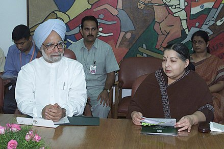 Jayalalithaa with then prime minister Manmohan Singh The Prime Minister, Dr. Manmohan Singh with the Chief Minister of Tamil Nadu, Dr. J. Jayalalitha.jpg