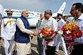 The Prime Minister, Shri Narendra Modi being received by the Chief Minister of Goa, Shri Manohar Parrikar, at INS Hansa Naval Base, in Goa on June 14, 2014.jpg