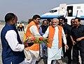 The Prime Minister, Shri Narendra Modi being received on his arrival at Varanasi, Uttar Pradesh on November 14, 2016 (1).jpg