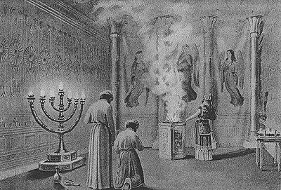 La Shekhinah entra nel Tabernacolo, nel bruciare incenso (cfr. Avodah e Kohanim). Nell'ebraismo tradizionale, contrariamente a quanto accade nella cultura cristiana, la divinità non viene rappresentata in immagini visive.