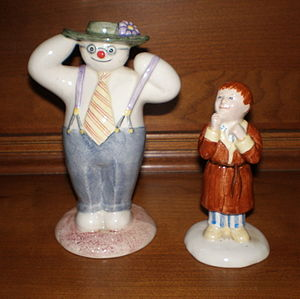 Beswick Pottery - The Snowman and James figurines manufactured by John Beswick Ltd under the Royal Doulton trademark based on characters from the book The Snowman by Raymond Briggs.