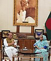 The Union Home Minister, Shri Rajnath Singh calling on the Prime Minister of Bangladesh, Ms. Sheikh Hasina, in Dhaka, Bangladesh on July 14, 2018.JPG