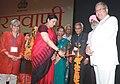 The Union Minister for Human Resource Development, Smt. Smriti Irani lighting the lamp to launch the Bharatvani Portal, at Babasaheb Bhimrao Ambedkar University, in Lucknow on May 25, 2016.jpg