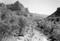 The Watchman and the Virgin River. ; ZION Museum and Archives Image 9191 ; ZION 9191 (3a4abc061f3c4009862777fe69fa308c).tif