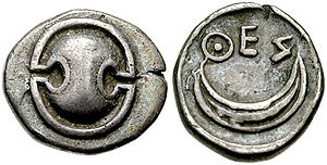 Thespiae - Silver Obol from Thespiae, 431-424 BC. Obverse: Boeotian shield Reverse: crescent, ΘΕΣ(ΠΙΕΩΝ) of Thespians.