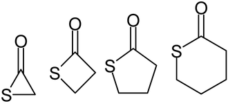 Thiolactone - α-, β-, γ-, and δ-lactones (left to right)