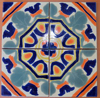 Malibu tile - Replica in the style of Malibu Potteries.  A Hispano-Moresque pattern on 4 tiles.