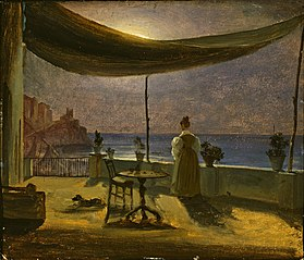 A Terrace in Amalfi in Moonlight