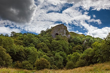 View of Thor's cave entrance from the valley Thors cave view.jpg