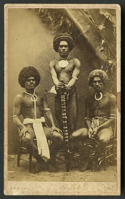 Three Kai Colo men in traditional Fijian attire Three kai colo, ca. 1873, carte de visite by Francis Herbert Dufty.jpg