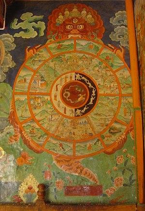 """Karma in Buddhism - Tibetan Bhavacakra or """"Wheel of Life"""" in Sera, Lhasa."""