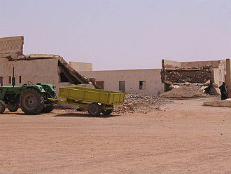 The effects of the 1991 Moroccan air strikes seen in the former Spanish barracks of Tifariti. Tifaritibombed.jpg