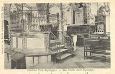 Sepia image of synagogue interior