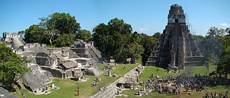 Tikal - The main plaza during winter solstice celebrations