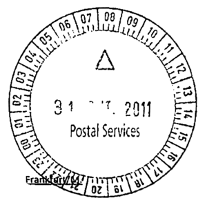 Timestamp - A postmark on a letter, with a timestamp showing the date (center) and time the letter was received by the post office.