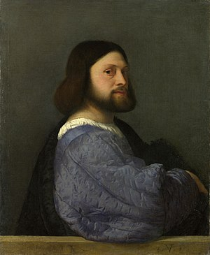 Titian - A Man with a Quilted Sleeve, an early portrait, c. 1509, National Gallery, London.