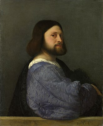 A Man with a Quilted Sleeve - Image: Titian Portrait of a man with a quilted sleeve