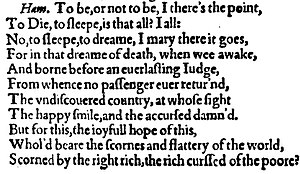 "Hamlet Q1 - The ""To be, or not to be"" soliloquy from the 1603 quarto of Hamlet"