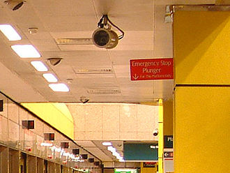 Toa Payoh MRT station - A closed-circuit camera monitors activities at Toa Payoh MRT station.