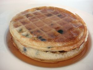 Photograph of two Eggo's toaster waffles with ...