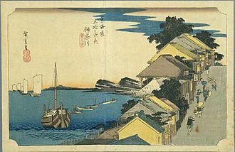 Kanagawa-juku - Kanagawa-juku in the 1830s, as depicted by Hiroshige in The Fifty-three Stations of the Tōkaidō