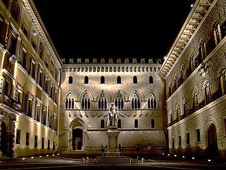 Banca Monte dei Paschi di Siena - Monte dei Paschi di Siena Headquarter's Main Entrance, Palazzo Salimbeni, Siena