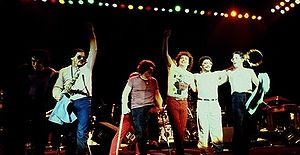 Toto (band) - Toto in 1982 in London at the Hammersmith Odeon. (Steve Porcaro, Jon Smith, Bobby Kimball, Steve Lukather, Lenny Castro, Jeff Porcaro)