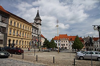 Prachatice - Town square with the town hall