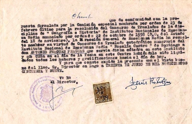 Traslado de Antón Fraguas ao Instituto Rosalía de Castro de Santiago
