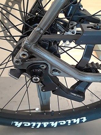 Tensioner - Belt tensioner on a belt-drive bicycle