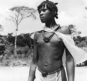 Scarification - Woman in Nigeria with ritual scarification (1952).