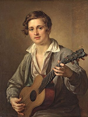 Romance (music) - Russian Guitar Player, by Vasily Tropinin (1823)