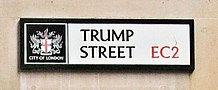 Trump Street, London, sign, March 2017.jpg