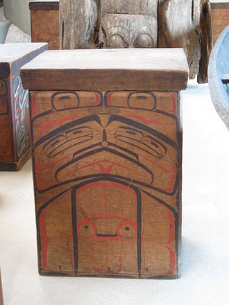 Bentwood - A red cedar Tsimshian bentwood box dating from the 1880s, on display at the UBC Museum of Anthropology