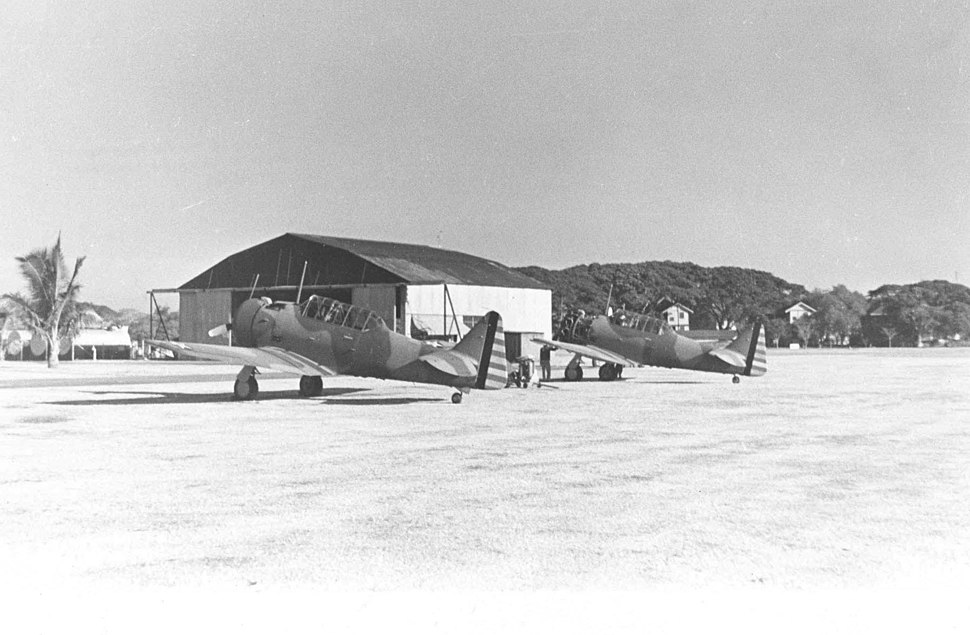 Two North American A-27s intercepted from order from Siam on Nichols Field