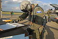 U.S. Air Force Capt. David Way, from the 158th Fighter Squadron, conducts post flight checks after landing an F-16 Fighting Falcon aircraft during a phase II operational readiness evaluation at McEntire Joint 080411-F-WT236-030.jpg