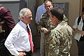 U.S. Sen. Bob Corker of Tennessee, left, talks with U.S. Army Maj. Gen. Scott Miller July 7, 2013, before departing from Camp Integrity, Afghanistan 130707-N-QV903-029.jpg