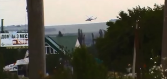 Battle of Kramatorsk - Two UAF Mil Mi-24 attack helicopters in the DPR-controlled suburb of Semenivka on 3 June 2014 during an offensive