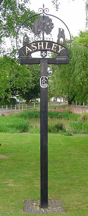 Ashley, Cambridgeshire - Signpost in Ashley