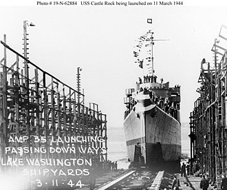USS Castle Rock (AVP-35) - USS Castle Rock (AVP-35) is launched on 11 March 1944 at Lake Washington Shipyard, Houghton, Washington.