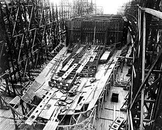 Lexington-class battlecruiser - Constitution under construction in Philadelphia in July 1921, seven months before work was suspended pending the outcome of the Washington Naval Conference