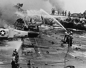 Zuni (rocket) - Sailors aboard Forrestal battle a massive ordnance fire triggered by a Zuni rocket.