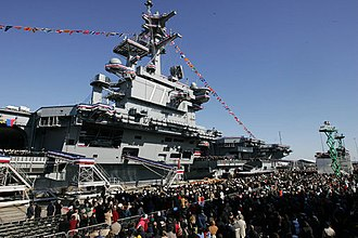 USS George H.W. Bush - Guests and U.S. Navy personnel at the commissioning ceremony on 10 January 2009