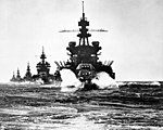 Pennsylvania leading battleship Colorado and cruisers Louisville, Portland, and Columbia into Lingayen Gulf, Philippines, January 1945